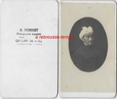 Dos De CDV à CHOLET-photographe Amateur E. Benoist-portrait De Femme Avec Coiffe - Old (before 1900)