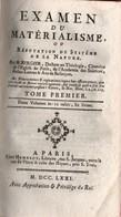 EXAMEN DU MATERIALISME OU REFUTATION SYSTEME DE LA NATURE PAR M. BERGIER 1771 PARIS  2 VOLUMES - Livres, BD, Revues