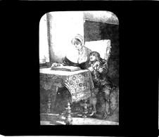 Plaque Photo De Verre - Saint Jean Baptiste De La Salle Se Fait Lire La Vie Des Saint Par Sa Mère  Scans Négatif-Positif - Saints