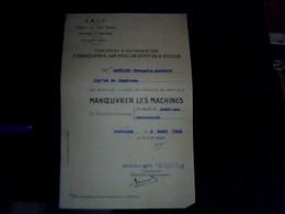 Vieux Papier Genealogie  SNCF  Annee 1948 Certificat D Autorisation A Manoeuvrer Les Machines Sur Voie De Depot ... - Transports