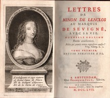 LETTRES DE NINON DE LENCLOS AU MARQUIS DE SEVIGNE AVEC SA VIE AMSTERDAM 1757  2 VOLUMES - Livres, BD, Revues