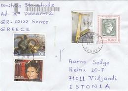 GOOD GREECE Postal Cover To ESTONIA 2012 - Good Stamped: Stamp On Stamp ; Children ; Seafauna - Greece