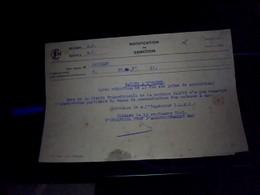 Vieux Papier   SNCF Region So  Mt  I Annee 1943  Notification De Sanction   Rappel A Lordre Avec Reduction De Primes. - Non Classés