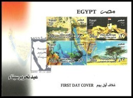 EGYPT 2007 FDC / FIRST DAY COVER Sinai Liberation Day ( Nabq Oasis - Monastery - Sharm El Sheikh - Castle ) - Egypt