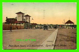 LYNN BEACH, MA - STATE BATH HOUSE AND BOULEVARD - ANIMATED - TRAVEL IN 1912 - MASON BROS & CO - - Etats-Unis