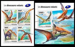 NIGER 2018 - Pterosaurs, M/S + S/S. Official Issue - Préhistoriques