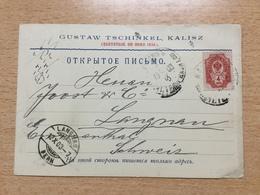 K6 Russia Russie 1903 Firmenkarte Von Kalisz Polen Nach Langnau Schweiz - 1857-1916 Imperium