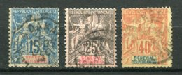 10627 SENEGAL   N° 13, 15, 17°  Papier Teinté   1892-93  B/TB - Sénégal (1887-1944)