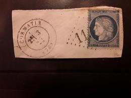 CERES No 60 Obl GC 1134 + Cachet à Date CORMATIN, Saône Et Loire,  3 Octobre 1872, Sur Fragment TB - 1871-1875 Cérès