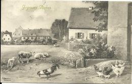 Joyeuses Paques  Ferme Avec Ses Animaux Moutons, Poules Et Coq  ....15.04.1912. - Animaux Habillés