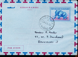 BURUNDI AIR LETTER STIBBE 2 USED FROM BUJUMBURA 1969 - Burundi