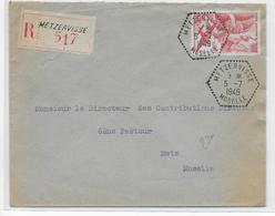 1949 - MOSELLE - ENVELOPPE RECOMMANDEE Avec CACHET HEXAGONAL De METZERVISSE => METZ - Marcophilie (Lettres)