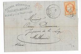 1875 - VOSGES - LETTRE De LE THILLOT Avec SORTIE ROUGE Par BUSSANG => MULHOUSE (CACHET FER à CHEVAL Au DOS) - Marcophilie (Lettres)