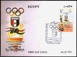 EGYPT 2010 FDC / FIRST DAY COVER CENTENARY OF THE EGYPTIAN OLYMPIC COMMITTEE - Egypt