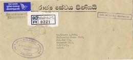 31060. Carta Aerea Certificada COLOMBO (Ceylan) Sri Lanka 1981. ON POSTAL SEREVICE - Sri Lanka (Ceilán) (1948-...)