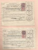 Oblitération Postale Sur Fiscaux - 2 Reçus De Taxe Téléphonique Larzicourt - Fiscaux