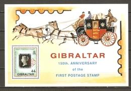 Gibraltar 1990 - 150 Anniversaire Du Premier Timbre - Oblitération Rouge - BF 14 MNH - Gibraltar