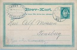 1884 , NORUEGA , ENTERO POSTAL CIRCULADO , IRSTA - TONSBERG - Enteros Postales