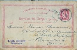 1885 , NORUEGA , ENTERO POSTAL CIRCULADO , TRONDHEIM - BARCELONA - Enteros Postales