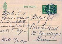 1934 , NORUEGA , ENTERO POSTAL CIRCULADO , OSLO - VIENA , MAT. AMBULANTE - Enteros Postales