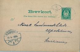 1894 , NORUEGA , ENTERO POSTAL CIRCULADO , SKI - KRISTIANIA - Enteros Postales