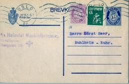 1925 , NORUEGA , ENTERO POSTAL CIRCULADO , OSLO - MUHLHEIM - Enteros Postales