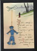 CPA Nenette Et Rintintin Original Avec Une Vraie Poupée En Laine + Tissu Peint à La Main Non Circulé - Guerre 1914-18