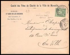 5209 Lsc Lettre Cover Cafe De La Cascade Bouches Du Rhone N°106 Sage Marseille A2b Lettres Baton 1899 - Postmark Collection (Covers)