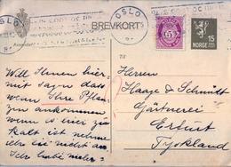 1933 , NORUEGA , ENTERO POSTAL CIRCULADO , OSLO - ERFURT - Enteros Postales
