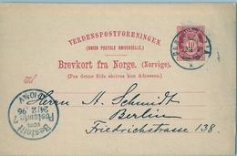 1896 , NORUEGA , ENTERO POSTAL CIRCULADO , KRISTIANIA - BERLIN , LLEGADA - Enteros Postales