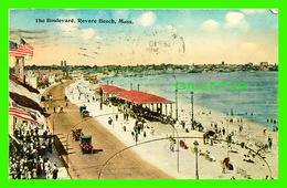 REVERE BEACH, MA - THE BOULEVARD, WELL ANIMATED - TRAVEL IN 1913 -  TICHNOR BROS INC - - Etats-Unis