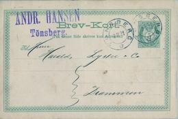 1891 , NORUEGA , ENTERO POSTAL CIRCULADO , TÖNSBERG - DRAMMEN - Enteros Postales