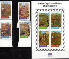 ZIMBABWE, 2015, MNH, RUINS, DRYSTONE RUINS OF ZIMBABWE, 4v+SHEETLET - Archaeology