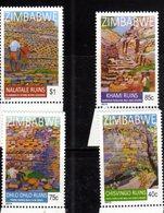 ZIMBABWE, 2015, MNH, RUINS, DRYSTONE RUINS OF ZIMBABWE, 4v - Archaeology