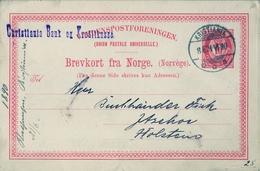 "1890 , NORUEGA , ENTERO POSTAL CIRCULADO , KRISTIANIA - HOLSTEIN , "" CHRISTIANIA BANK "" - Enteros Postales"