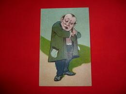 Cartolina Umoristica Uomo Con Giacca Caricatura - Humor