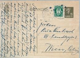 1908 , NORUEGA , ENTERO POSTAL CIRCULADO , OSLO - VIENA , MAT. AMBULANTE - Enteros Postales