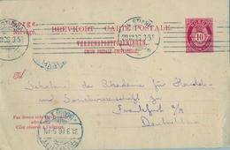 1906 , NORUEGA , ENTERO POSTAL CIRCULADO , KRISTIANIA - FRANKFURT , LLEGADA - Enteros Postales