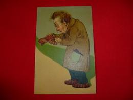 Cartolina Umoristica Uomo Con Portamonete Vuoto Caricatura - Humor