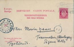1906 , NORUEGA , ENTERO POSTAL CIRCULADO , TRONDHEIM - TRAUNSTEIN , LLEGADA - Enteros Postales