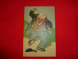 Cartolina Umoristica Uomo Calpesta Portamonete Caricatura - Humor
