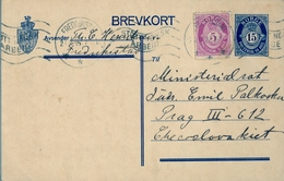 1927 , NORUEGA , ENTERO POSTAL CIRCULADO , FREDRIKSTAD - PRAGA - Enteros Postales