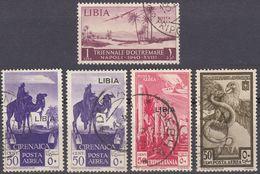 LIBIA (COLONIA ITALIANA) - Lotto Di 5 Valori Usati: Yvert Posta Aerea 3 (2 Varietà Differenti), 4, 8 E 14. - Libia