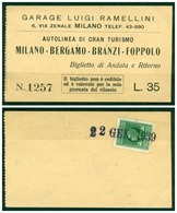 BERGAMO - CV1944 BRANZI (Bergamo BG) Biglietto AR Autolinea Milano - Bergamo - Branzi - Foppolo - Bergamo