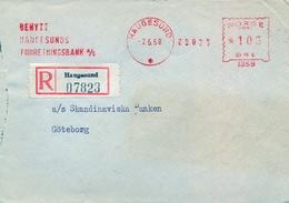 1958 , NORUEGA , SOBRE CIRCULADO , HAUGESUND - GÖTEBORG , FR. MECÁNICO - FORRETNINGSBANKEN , BANCO - Noruega