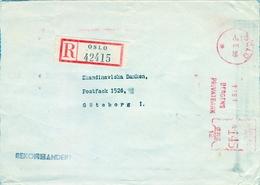 1958 , NORUEGA , SOBRE CIRCULADO , OSLO - GÖTEBORG , FR. MECÁNICO - BERGENS , PRIVATBANK , BANCO - Noruega