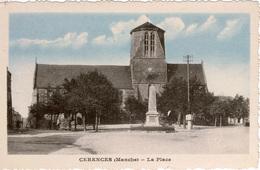 Cpsm 50 Cérences  La Place , L'église Notre-Dame (ancien Clocher) ,monument Aux Morts , Voitures Anciennes , Colorisée - France