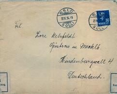 1936 , NORUEGA , SOBRE CIRCULADO , OSLO - HAMBURGO , MAT. OSLO / SOLLI , BANDA DE CIERRE DE CENSURA , LLEGADA - Noruega
