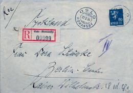 1934 , NORUEGA , SOBRE CIRCULADO , OSLO - BERLIN , MAT. OSLO / HOMANSBY , , LLEGADA - Noruega