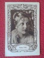 ANTIGUO CROMO OLD COLLECTIBLE CARD ACTRIZ DE CINE ACTRESS HOLLYWOOD ACTRICE THELMA TODD USA PUBLICIDAD MAGNESIA ROLY VER - Cromos